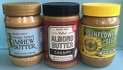 Trader Joe's Nut Butter Triple Variety Pack -  Cashew, Almond, Sunflower Seed Sunflower Seed Butter