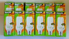12 PHILIPS ENERGY SAVER LIGHT BULBS 11W + 60W 6 YEAR USE BAYONET FITTING 600 B22