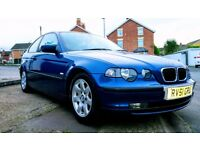 BMW 318ti E46 Compact 2002 Blue. MOT June 2018. NO RUST. Great Condition. Sad Sale. DE15 9EU.