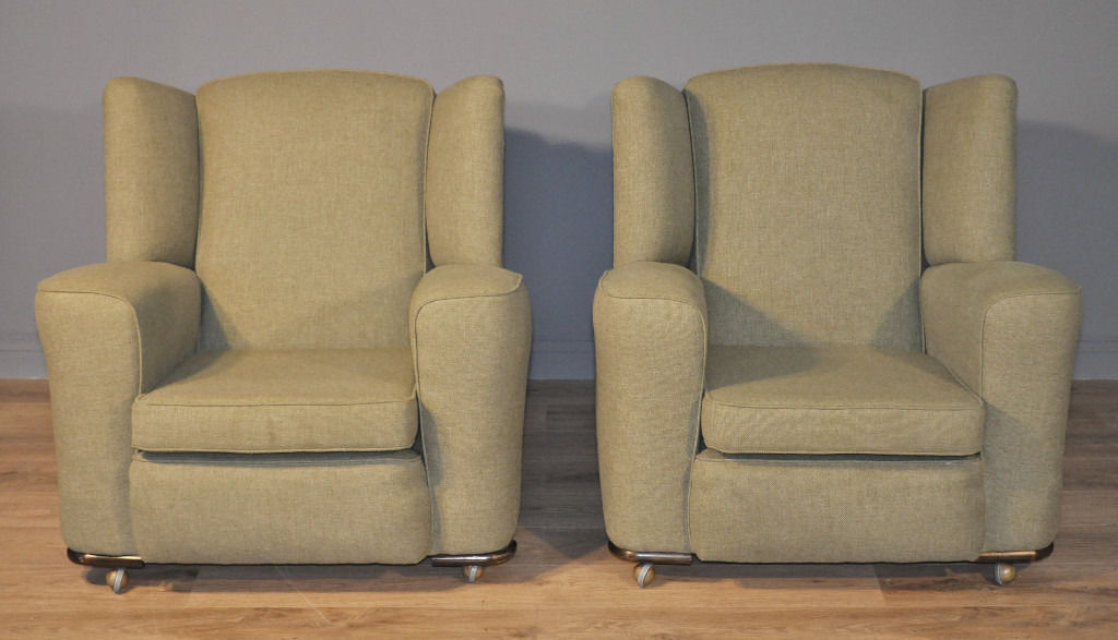 Attractive Pair Of 2 Vintage Art Deco Recently Upholstered Armchairs Chairs