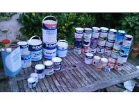 Part tins of paint, gloss, matt, undercoat, masonry emulsion