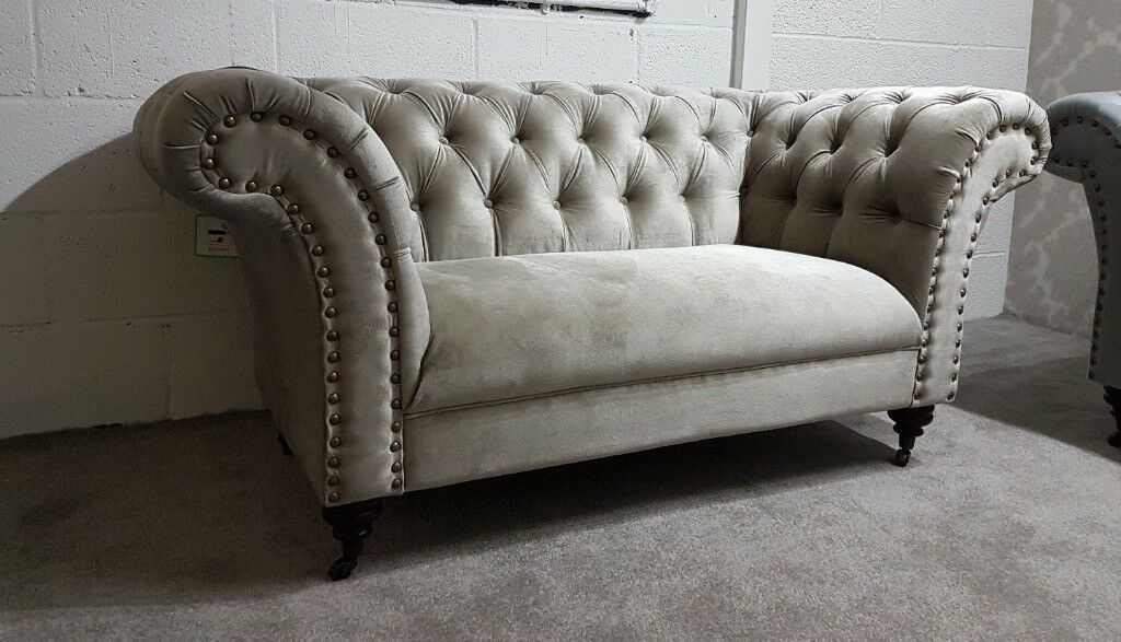 URGENT: Fabric Chesterfield Sofa (2 X 2 Seater Set) In Putty Grey,