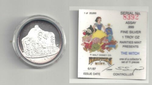 """Rarities Mint 1987 Disney """"The Witch"""" 1 oz. silver coin with original packaging"""