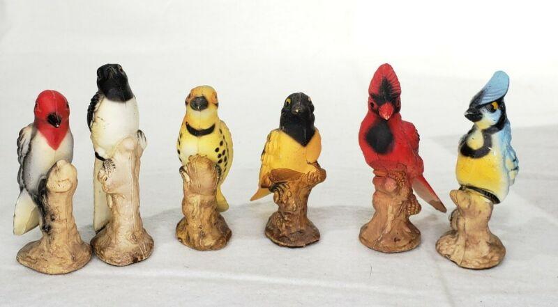 6 Vintage Porcelain Miniature Bird Figurines Hong Kong
