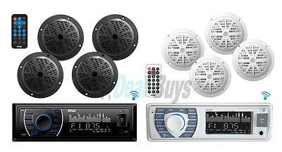 "Pyle Bluetooth Marine Receiver Stereo & Speaker Kit 4 6.5"" Waterproof Speakers Bluetooth-marine"