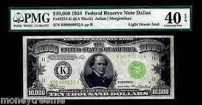 "FR 2231K $10,000 1934 GRADED PMG 40! ""LIGHT GREEN SEAL""! TWO DIGIT #32 FEDERAL"
