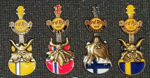 Hard Rock Cafe Pins viking flag guitar (set 4 pins)