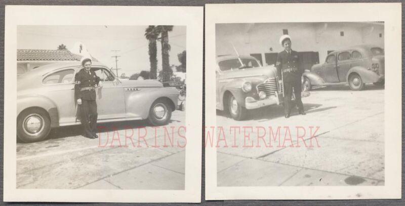 Vintage Car Photos Navy Man SP Shore Patrol w/ 1941 Buick Automobile 746796