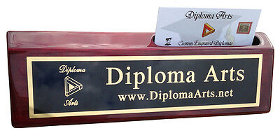 Personalized Rosewood Piano Finish Office Desk Wedge Name Plate W Card Holder