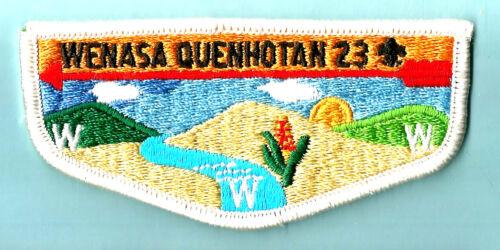 23 S- WENASA OA Lodge blk fdl, pl, Boy Scout flap, IL, W.D. Boyce Council