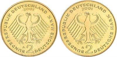 2 DM-Probe in Goldbronze 2001 A  Kopplung der Adlerseiten ohne Randschr. prfr.