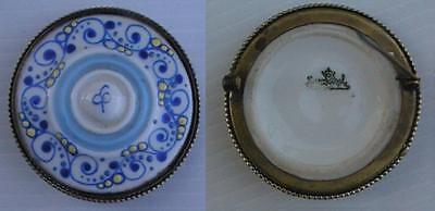 porzellan-brosche tracht rosenthal metallumrandung / 4,5cm art deco