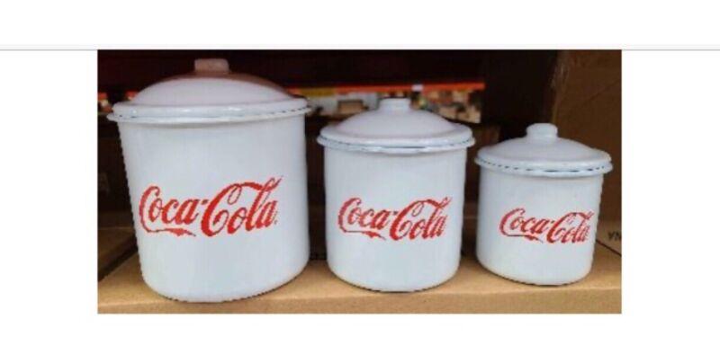 Coca-Cola Enamel 3 Piece Canister Set Cursive Script Enamelware Coke Retro Style
