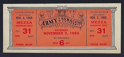 1960 Ncaa Army Black Knights   Syracuse Orangemen Full Unused Football Ticket