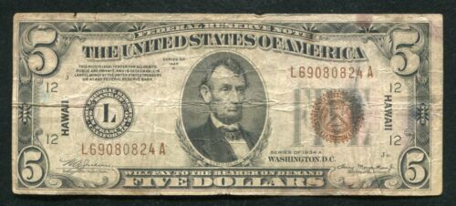 """FR. 2302 1934-A $5 FIVE DOLLARS """"HAWAII"""" FRN FEDERAL RESERVE NOTE"""