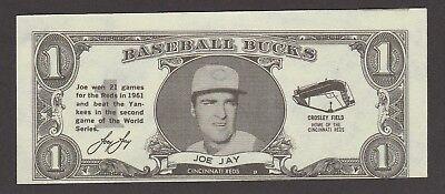 1962  Topps Baseball Bucks   Joe Jay   Inv J878