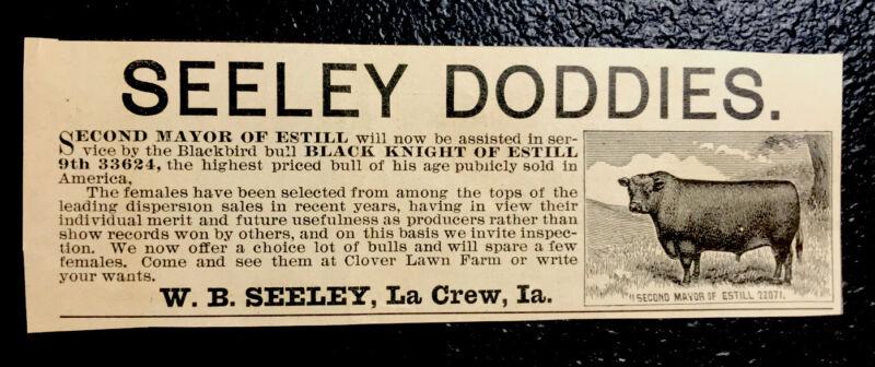 1900 Seeley Farm Cattle Advertising - La Crew - Iowa - Cow