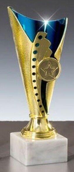 Sport-Pokal mit Wunschgravur/Emblem, gold/blau (54540-1)
