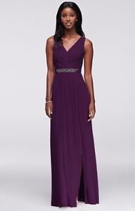 Long Mesh Dress with V-Neck and Beaded Waistband Size 16