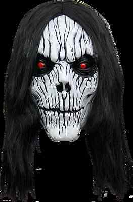 BRAND NEW Exorcist Zombie Voodoo Skull DELUXE ADULT POSSESSION HALF MASK W/ HAIR