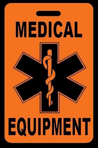 Safety Orange Medical Equipment Carry-On Bag Tag - CPAP BiPAP APNEA POC
