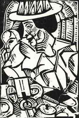 Georg TAPPERT - DAME im CAFÉ Original Linolschnitt um 1917