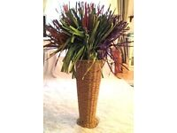 XL Wicker Vase With Multicoloured Palms