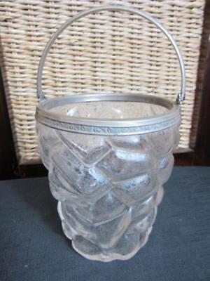 """Antique """"Ice Cubes"""" Clear Glass Ice Bucket"""
