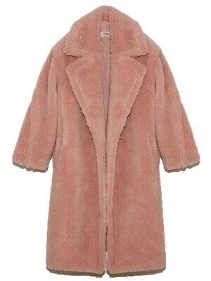 Yves Salomon Lati Wool Teddy Coat Cupcake Pink Size 34 Made in France