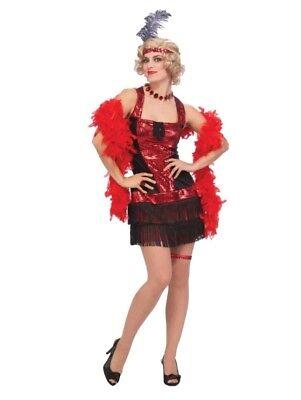 All That Jazz Speakeasy Red Black Fringe Flapper Dress Costume Standard Size](Jazz Flapper Costume)