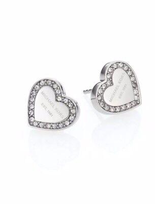 Michael Kors Silver Tone Logo Heart Charm Earrings