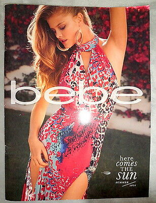 Bebe fashion catalog Summer 2014 Nina Agdal Lisalla Montenegro dress bag shoes