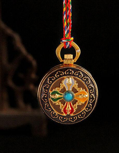 TIBET HOLY BLESSED GOLD GILT ENAMEL COPPER DORJE LOCKET PENDANT  GAU PRAYER BOX