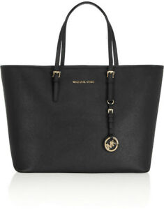 MICHAEL KORS BLACK MEDIUM JET SET SAFFIANO LEATHER PURSE