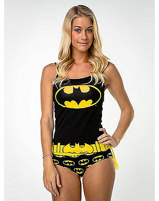 DC Comics BATMAN Caped PAJAMA SET Tank & Panty BATGIRL LOGO PAJAMAS Panties