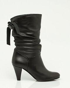 Brand New Leather Almond Toe Mid Calf Boots