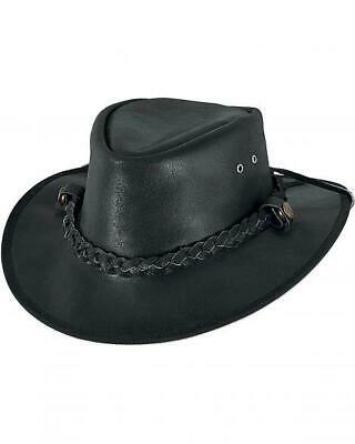 Leather Cowboy Western Style Australian Bush Hat - Black
