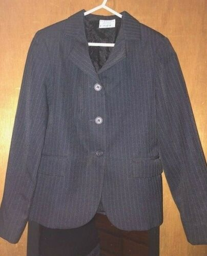 CONCOUR ELITE YOUTH SIZE 10 NAVY BLUE PINSTRIPE ENGLISH SHOW COAT
