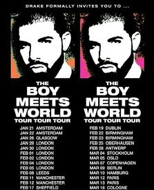 Drake @ SSE HYDRO Glasgow. Seated section 213, row b, seat 204. Face value £102.15 selling £90