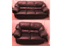 very good condition chocolate Brown leather 3+2 seater sofas