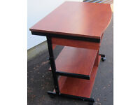 Walnut Colour Computer Desk Commercial Grade with Adjustable height table on 4 Castors 2 Locking