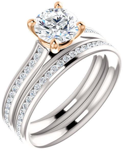 1.31 ct, GIA 1.01 carat Round Diamond Solitaire 14k Two-Tone Gold Ring J S11