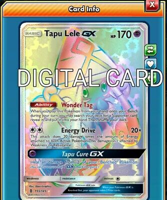 Tapu Lele GX RR RAINBOW RARE Pokemon TCG Online PTCGO FAST 155/145 DIGITALCARD