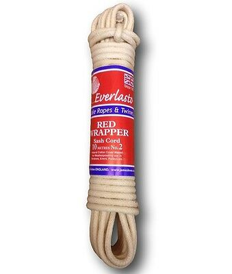 'EVERLASTO' RED WRAPPER WAXED COTTON SASH CORD - 5MM 6MM 6.5MM 7MM 8.5MM 10MM