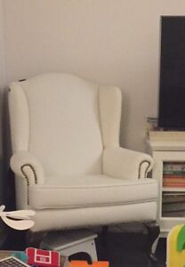White wingback chair excellent condition