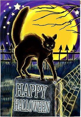 Happy Halloween Black Cat on Headstone Full Moon Nite Cobweb Sm Garden Flag (Full Moon On Halloween Night)