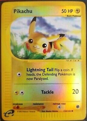 Pokemon Card Pikachu Reverse  Holo Rare E Series Expedition 124/165 E Reader HTF