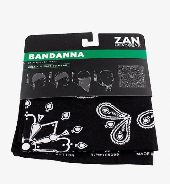 Zan Headgear Bandanna, Cotton, Black Paisley B001