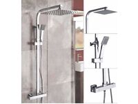 Square rainfall and handheld shower head rear fed mixer shower