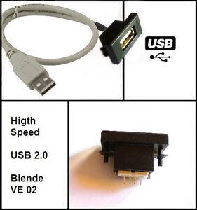 USB Einbaubuchse einbausteckdose Buchse Adapter Cardesign, MP3, Kabel Typ A VW